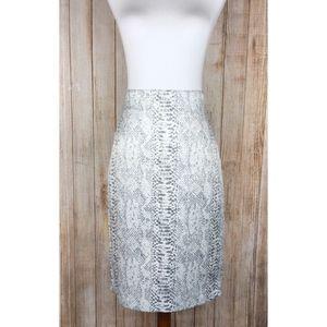 Ann Taylor gray snakeskin print pencil skirt